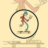 Χαρακτήρας Hipster στον μακρύς-πίνακα Στοκ Φωτογραφία