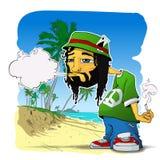 Χαρακτήρας Rasta σε ένα παραλία-υπόβαθρο. Στοκ Εικόνα