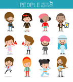 Χαρακτήρες ανθρώπων, μεγάλη ομάδα ανθρώπων, σύνολο διαφορετικών επιχειρηματιών στο επίπεδο ύφος που απομονώνεται στο άσπρο υπόβαθ Στοκ Φωτογραφία