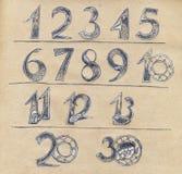 Χαρακτήρες αριθμών που διακοσμούνται με τη floral διακόσμηση διανυσματική απεικόνιση