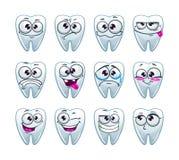 Χαρακτήρες δοντιών κινούμενων σχεδίων με τις διαφορετικές συγκινήσεις Στοκ Φωτογραφίες