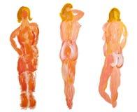 χαρακτήρες θηλυκό Κ πρότυπα γυμνά χρωματίζοντας τρία Στοκ φωτογραφία με δικαίωμα ελεύθερης χρήσης