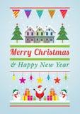 Χαρακτήρες και αντικείμενα διακοσμήσεων Χριστουγέννων διανυσματική απεικόνιση