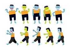 Χαρακτήρες κινουμένων σχεδίων Zombie καθορισμένοι Στοκ Φωτογραφίες