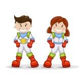 Χαρακτήρες κινουμένων σχεδίων αστροναυτών Απεικόνιση αποθεμάτων