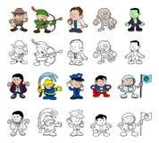 Χαρακτήρες κινουμένων σχεδίων καθορισμένοι Στοκ Φωτογραφίες