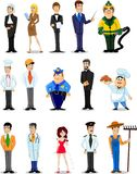 Χαρακτήρες κινουμένων σχεδίων των διαφορετικών επαγγελμάτων Στοκ Εικόνες