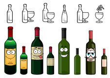 Χαρακτήρες κινουμένων σχεδίων των μπουκαλιών κρασιού σε διάφορο Στοκ φωτογραφία με δικαίωμα ελεύθερης χρήσης
