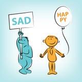 Χαρακτήρες κινουμένων σχεδίων λυπημένοι και χαμόγελο διανυσματική απεικόνιση
