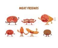 Χαρακτήρες κρέατος Τρόφιμα διασκέδασης Στοκ Εικόνα