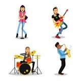 Χαρακτήρες μουσικών με τα διαφορετικά μουσικά όργανα, διανυσματικές απεικονίσεις Στοκ φωτογραφία με δικαίωμα ελεύθερης χρήσης