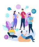 Χαρακτήρες νέων που κουβεντιάζουν στο κοινωνικό δίκτυο απεικόνιση αποθεμάτων