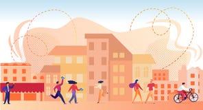 Χαρακτήρες που περπατούν στη σύγχρονη πόλη στο καλοκαίρι απεικόνιση αποθεμάτων
