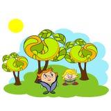 Χαρακτήρες στη φύση διανυσματική απεικόνιση