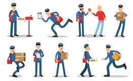 Χαρακτήρες ταχυδρόμων στις διαφορετικές καταστάσεις καθορισμένες Mailmen στις διαφορετικές καταστάσεις που κάνουν το διάνυσμα κιν Στοκ φωτογραφία με δικαίωμα ελεύθερης χρήσης