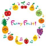 Χαρακτήρες του χαμόγελου των φρούτων Πλαίσιο απεικόνιση αποθεμάτων