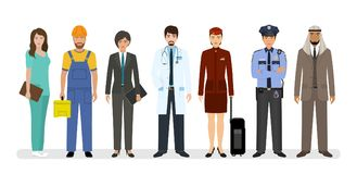 Χαρακτήρες υπαλλήλων και εργαζομένων που στέκονται μαζί με το γιατρό, τον αστυνομικό και τη νοσοκόμα Ομάδα επτά ανθρώπων διανυσματική απεικόνιση