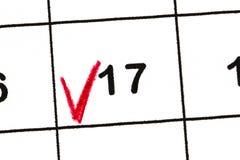 Χαρακτηρίστε την ημερομηνία αριθμός 17 Η πέμπτη ημέρα του μήνα είναι χαρακτηρισμένα WI Στοκ Εικόνες