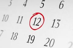 Χαρακτηρίστε την ημερομηνία αριθμός 12 Στοκ φωτογραφία με δικαίωμα ελεύθερης χρήσης