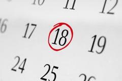 Χαρακτηρίστε την ημερομηνία αριθμός 18 Στοκ Φωτογραφίες