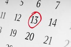 Χαρακτηρίστε την ημερομηνία αριθμός 13 Στοκ Φωτογραφίες