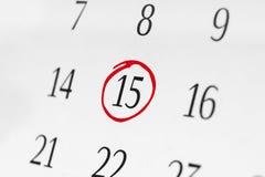 Χαρακτηρίστε την ημερομηνία αριθμός 15 Στοκ Φωτογραφία