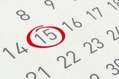 Χαρακτηρίστε την ημερομηνία αριθμός 15 Στοκ φωτογραφίες με δικαίωμα ελεύθερης χρήσης