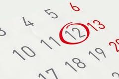 Χαρακτηρίστε την ημερομηνία αριθμός 12 Στοκ εικόνες με δικαίωμα ελεύθερης χρήσης