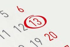 Χαρακτηρίστε την ημερομηνία αριθμός 13 Στοκ εικόνα με δικαίωμα ελεύθερης χρήσης