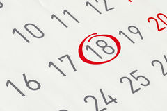 Χαρακτηρίστε την ημερομηνία αριθμός 18 Στοκ φωτογραφία με δικαίωμα ελεύθερης χρήσης