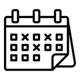 Χαρακτηρισμένο εικονίδιο ημερολογιακών ημερομηνιών, ύφος περιλήψεων ελεύθερη απεικόνιση δικαιώματος