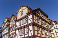 Χαρακτηριστικά γερμανικά σπίτια στο κέντρο Hannoversch Munden Στοκ Εικόνα