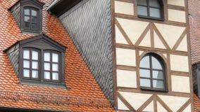 Χαρακτηριστικά εθνικά γερμανικά σπίτια στην πόλη Furth στο ύφος του fachwerk ή μισό-εφοδιασμένος με ξύλα φιλμ μικρού μήκους