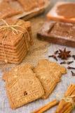 Χαρακτηριστικά ολλανδικά μπισκότα speculaas με την αυθεντική ξύλινη περικοπή μπισκότων Στοκ Φωτογραφία