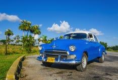 Χαρακτηριστική άποψη του κλασικού μπλε αμερικανικού αυτοκινήτου στην Κούβα, Αβάνα Στοκ φωτογραφίες με δικαίωμα ελεύθερης χρήσης