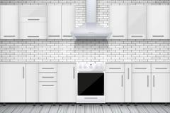 Χαρακτηριστική άσπρη κουζίνα Στοκ εικόνα με δικαίωμα ελεύθερης χρήσης