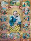 Χαρακτηριστική καθολική εικόνα του ST Joseph με τις σκηνές από τη ζωή Στοκ φωτογραφίες με δικαίωμα ελεύθερης χρήσης