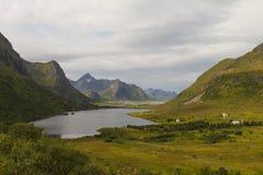 Χαρακτηριστική νορβηγική πόλη με τα ζωηρόχρωμα σπίτια Στοκ Εικόνες