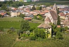 Χαρακτηριστικός κυκλικός αμπελώνας στο νότιο Τύρολο, Egna, Μπολτζάνο, Ιταλία στο δρόμο κρασιού στοκ φωτογραφίες