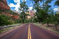 Χαρακτηριστικός κόκκινος δρόμος στο εθνικό πάρκο Zion, Γιούτα, ΗΠΑ στοκ εικόνα