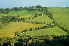Χαρακτηριστικός δρόμος που ευθυγραμμίζεται με τα δέντρα κυπαρισσιών στην Τοσκάνη, Ιταλία Στοκ Φωτογραφίες