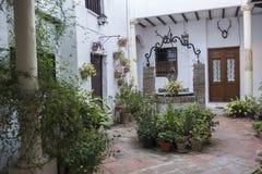 Χαρακτηριστικό ανδαλουσιακό προαύλιο με πολλά εγκαταστάσεις και λουλούδια, Ισπανία στοκ εικόνες