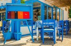 Χαρακτηριστικό ελληνικό εστιατόριο - μπλε και άσπρο, Ελλάδα Στοκ Εικόνες