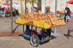 Χαρακτηριστικό κάρρο bagel του ψωμιού Στοκ Εικόνες