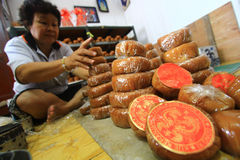 Χαρακτηριστικό κινεζικό κέικ καλαθιών artisans Στοκ φωτογραφία με δικαίωμα ελεύθερης χρήσης