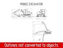 Χαρακτηριστικό κινητό πρότυπο σχεδιαγραμμάτων περιλήψεων γενικών διαστάσεων εκσκαφέων Στοκ Εικόνες