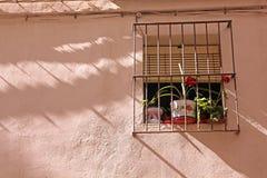 Χαρακτηριστικό μεσογειακό παράθυρο με τα λουλούδια. Στοκ φωτογραφία με δικαίωμα ελεύθερης χρήσης
