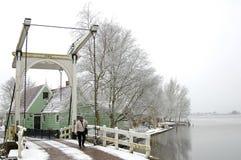 Χαρακτηριστικό ολλανδικό χειμερινό τοπίο με τη λίμνη και τη γέφυρα στοκ εικόνες