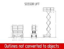 Χαρακτηριστικό πρότυπο σχεδιαγραμμάτων περιλήψεων γενικών διαστάσεων ανελκυστήρων ψαλιδιού Στοκ Εικόνες
