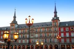 Χαρακτηριστικό τετράγωνο δημάρχου της Μαδρίτης Plaza στην Ισπανία Στοκ Εικόνα